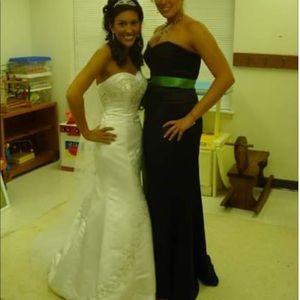 David's Bridal 2 Piece Satin Gown Extra Long Skirt